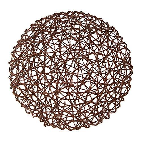 Woven Fiber - wellhouse Round Paper Fiber Woven Place Mats Decorative Placemat Braided Natural Mat Holidays Parties Decor 15