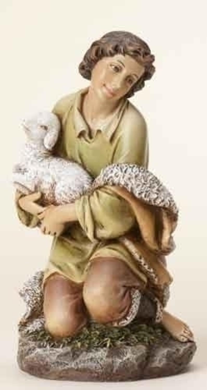 Roman 8.5'' Joseph's Studio Shepherd Boy with Sheep Religious Nativity Christmas Figure