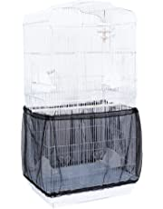 Niome Birds Cage Seed Catcher Seeds Guard Parrot Nylon Mesh Net Cover Stretchy Shell Skirt Traps Cage Basket M