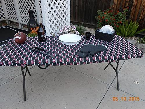 custom fitted sf niners football tablecloth for tables up to 6 ft can order for. Black Bedroom Furniture Sets. Home Design Ideas