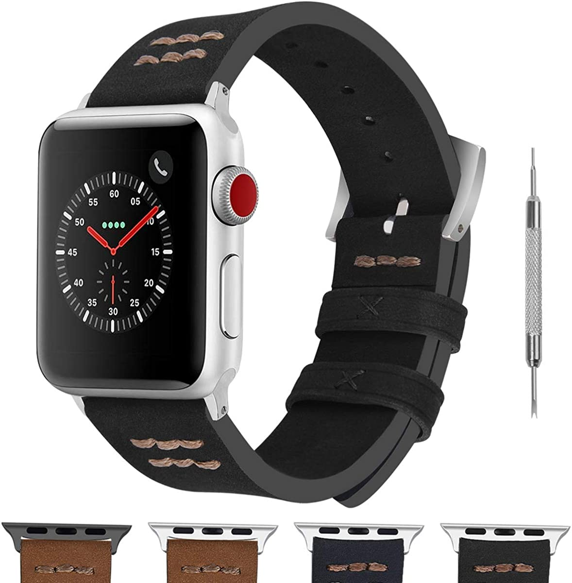 Fullmosa Apple Watch Band Compatible for Apple Watch SE & Series 6/5/4/3/2/1,Fuma Suede Vintage Hand-Stitched iWatch Band for Apple Watch 38mm 42mm 40mm 44mm