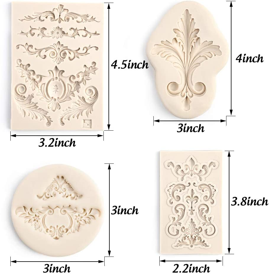 LOVEINUSA LoveInUSA 12 Pcs Baroque Fondant Silicone Mold,DIY 3D Sculpted Flower for Cake Decoration Candy Polymer Clay Sugar Craft