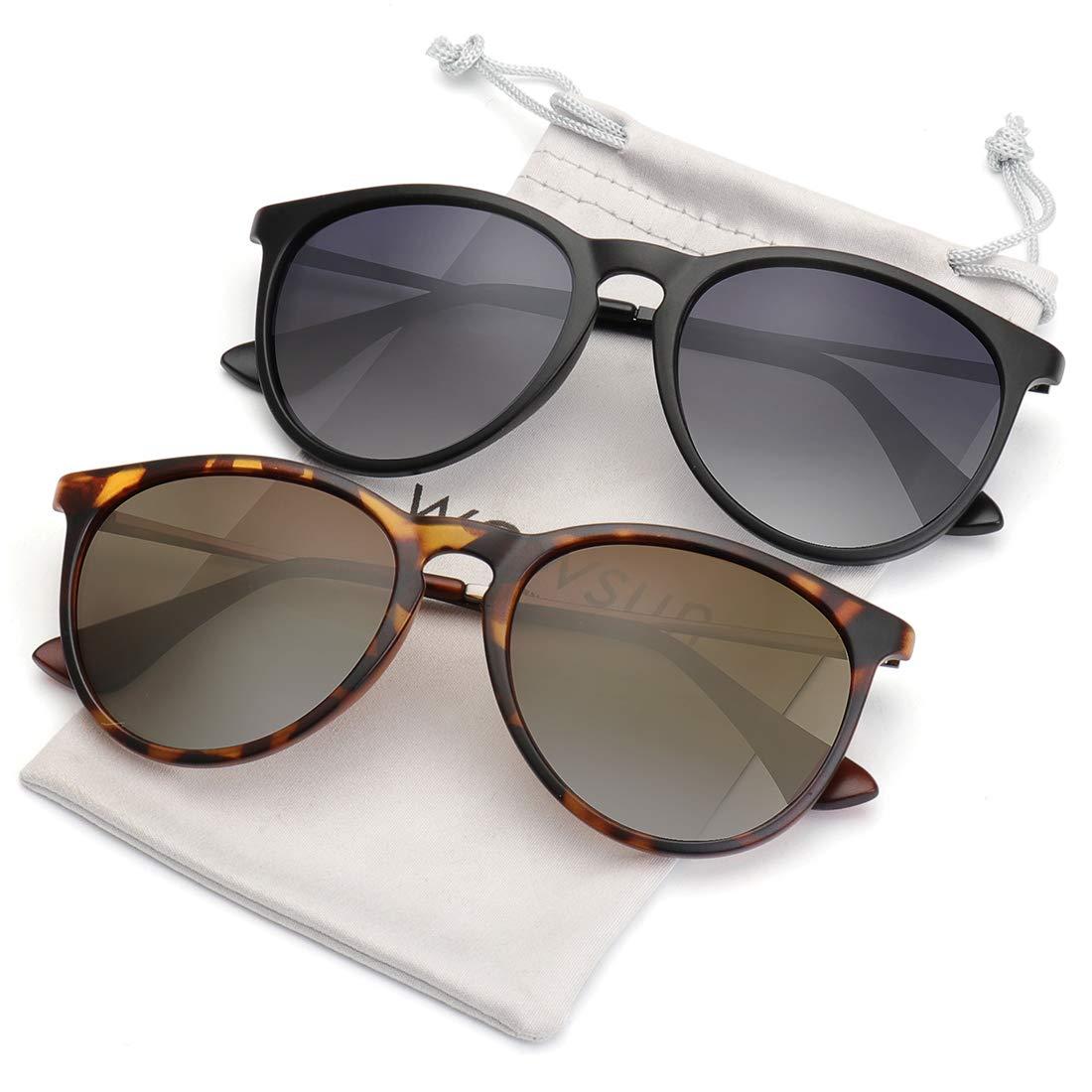 WOWSUN Polarized Sunglasses for Women Vintage Brown Gradient Lens 2 Pack Black Leopard Frames Tortoise Shell Sun Glasses Shades by WOWSUN