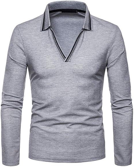 NISHIPANGZI Cuello V Rayas Moda Polo Shirt Hombres Otoño Nueva ...
