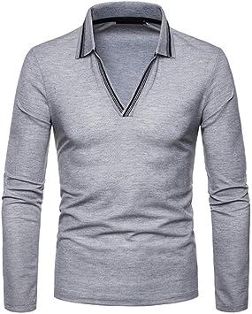NISHIPANGZI Moda V-Cuello Rayado Camisa Polo Manga Larga Hombres ...