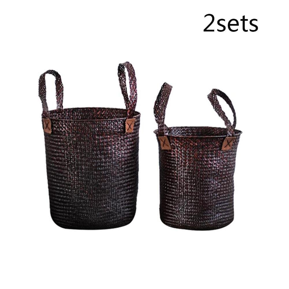TSAR003 Seaweed Knit Belt Handle Wash Basket Dirty Clothes Toy Basket 2 Sets