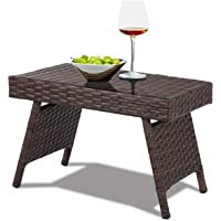 COSTWAY Table de Jardin en Rotin Pliante Structure en Fer Table Basse Tréssée pour Salon Jardin Balcon Terrasse 60 x 40 x 40 CM Brun