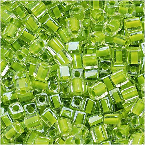 - Miyuki 4mm Glass Cube Beads Lime Green Lined Crystal #245 10 Grams