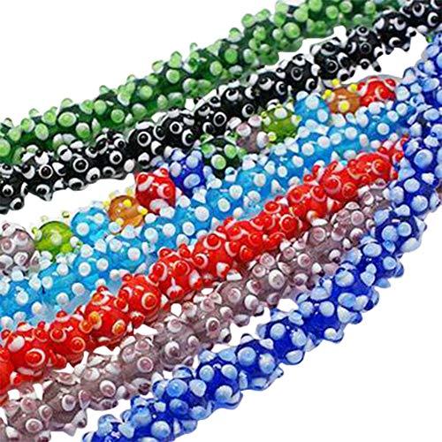 ARRICRAFT 10pcs Handmade Bumpy Lampwork Beads 1mm Hole Round Ball Beads for Crafting Jewelry Making