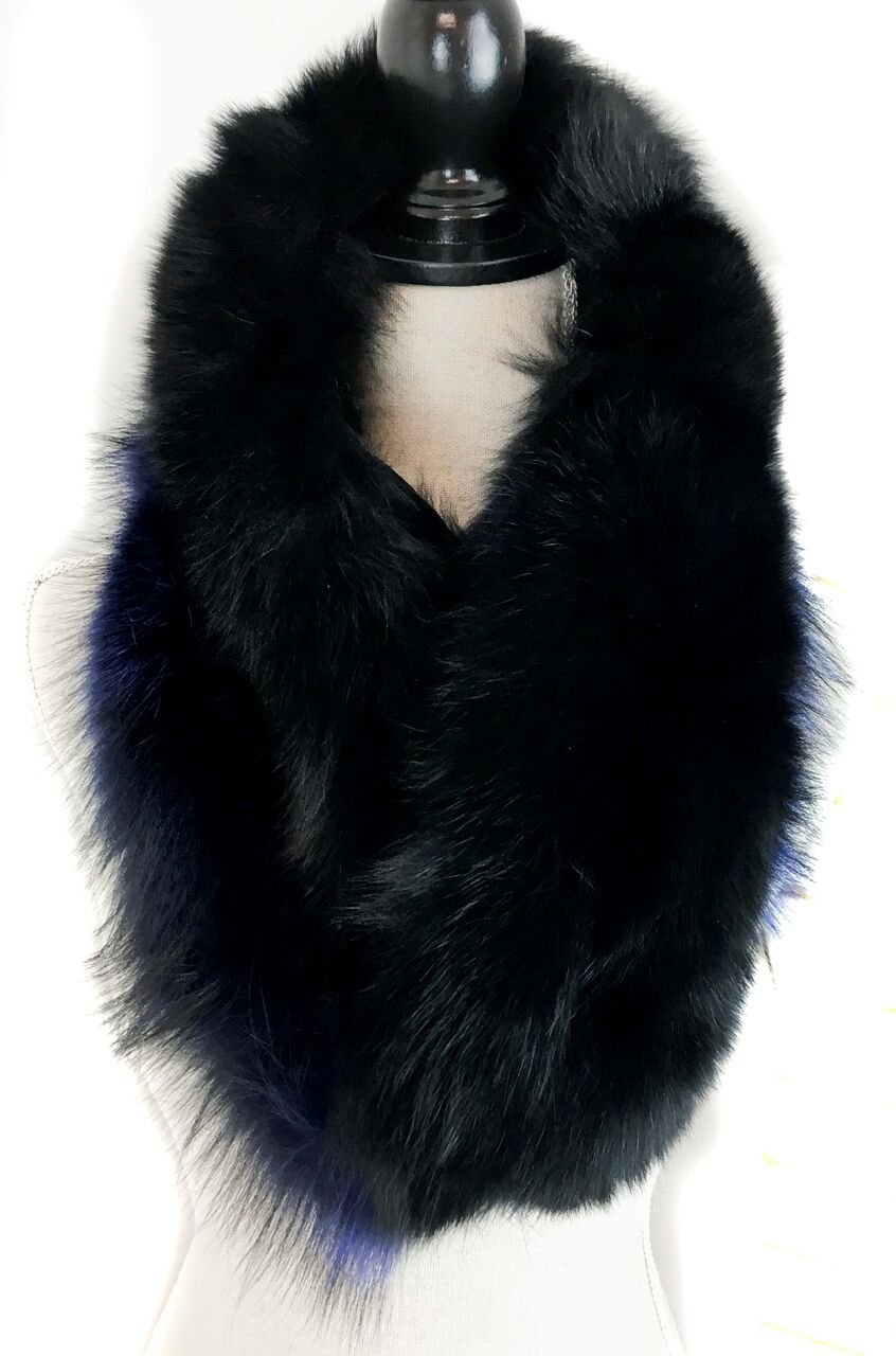 Surell Dyed Fox Fur Scarf - Womens Luxury Neck Wrap - Perfect Winter Fashion Gift (Blue) by surell (Image #4)