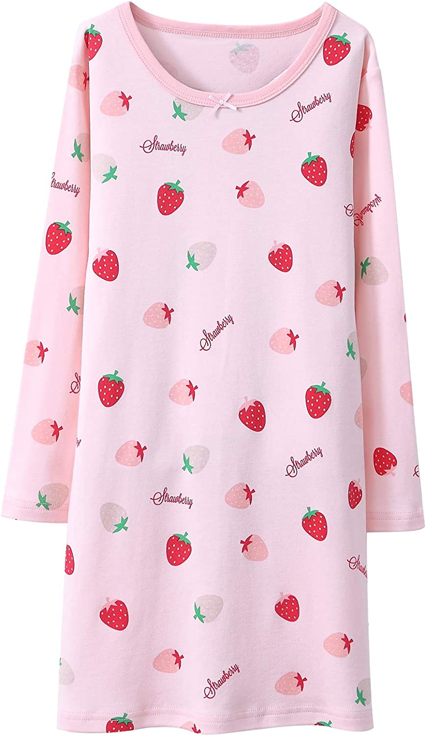 Baby Toddler Lace Bowknot Nightdress Cotton Long Sleeve Nightgowns Sleepwear for 3-10 Years Auranso Girls Nighties