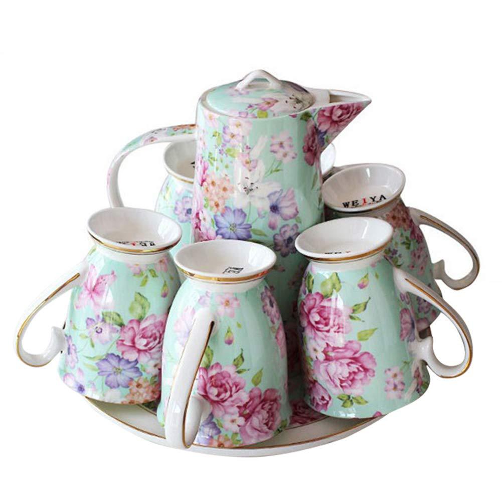 Acquisto ZYCH Set da tè Europeo Creativo di 8 Pezzi, Set da caffè in Porcellana di Osso in Ceramica con 1 Caffettiera 6 Tazza 1 Vassoio da tè Prezzi offerta