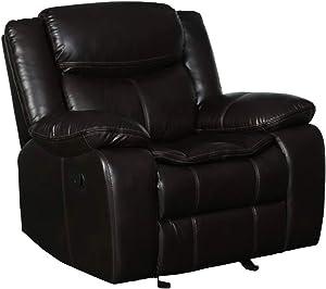 Blackjack Furniture Marsden Modern Leather Air Living Room Reclining, Chair, Chocolate