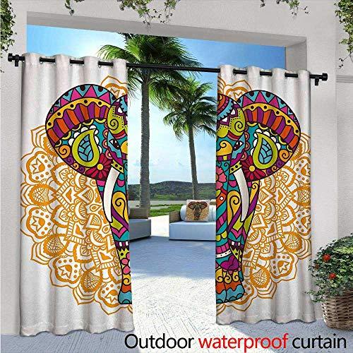 BlountDecor Elephant Mandala Indoor/Outdoor Single Panel Print Window Curtain W72 x L108 Tribal Ethnic Rain Bringing Symbol of Good Luck Prosperity Hippie Design Silver Grommet Top Drape ()