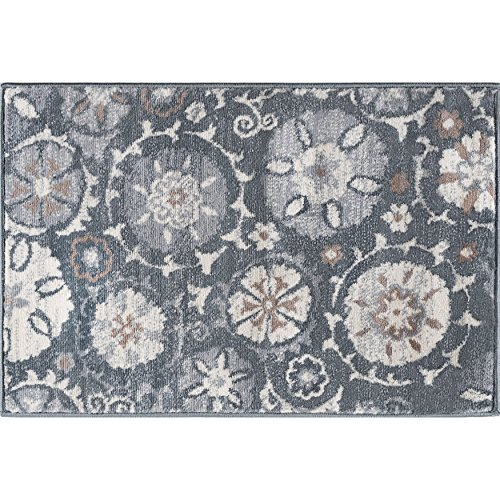 Wendy Transitional Floral Gray Scatter Mat Rug, 2' x 3'