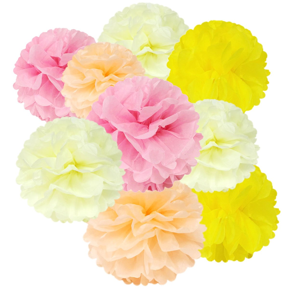 Wrapables A70079 Set of 12 Tissue Pom Poms Party Decorations for Weddings, Birthday Parties Baby Showers and Nursery Decor, Pink/Peach/Ivory/Yellow
