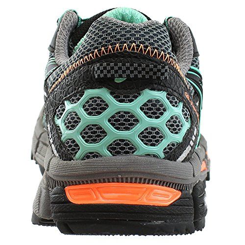 Asics Women's Gel-Kahana 8 Trail Runner, Aluminum/Black/Flash Yellow, 6 B US Black/Ice Green/Hot Orange