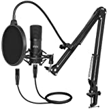 XLR Condenser Microphone, UHURU Professional Studio Cardioid Microphone Kit with Boom Arm, Shock Mount, Pop Filter…