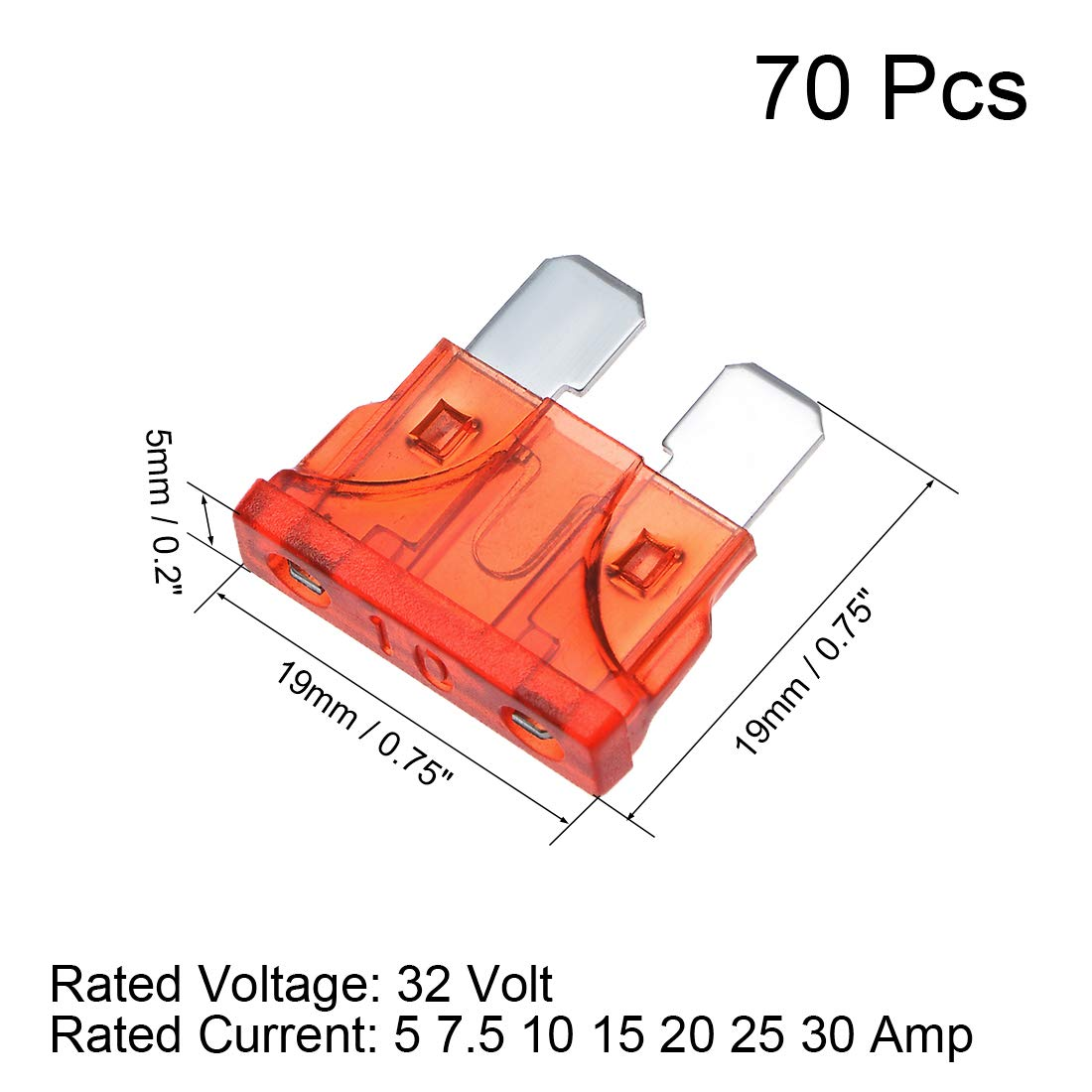 sourcing map 5Stk.Automotive Mini Blade Sicherung 32 V 50A 60A 70A 80A 100A f/ür Auto LKW Fahrzeug
