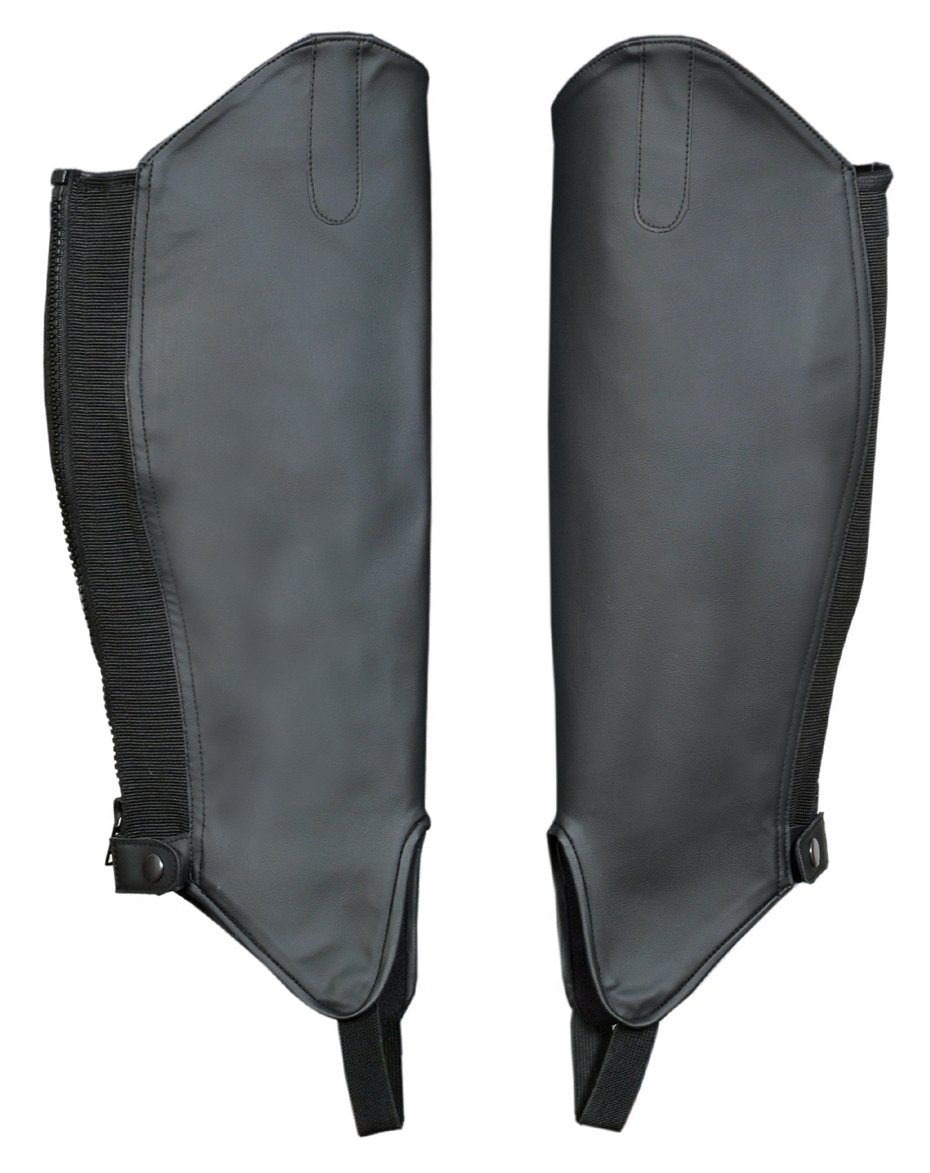 ADULT EQUESTRIAN SYNTHETIC LEATHER HALF LEG HORSE RIDING CHAPS GAITERS BLACK FREE UK DELIVERY S-Products