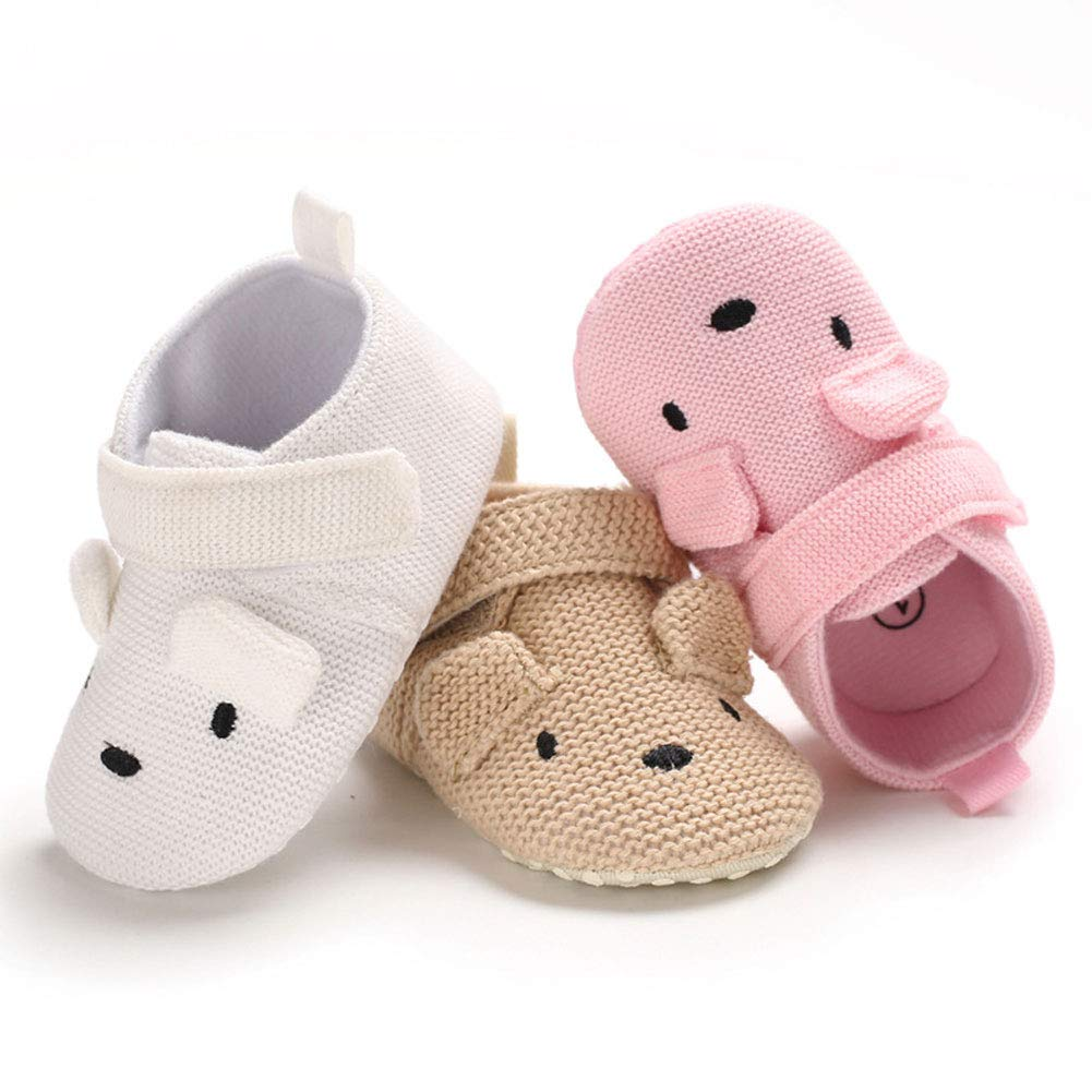 White 11cm Alamana Lovely Cartoon Infant Baby Cotton Soft Sole Anti-Slip Prewalker Toddler Shoes