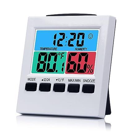 """Medidor de humedad, lomanda reloj de escritorio digital 3.3 """"Colorful pantalla con temperatura"""