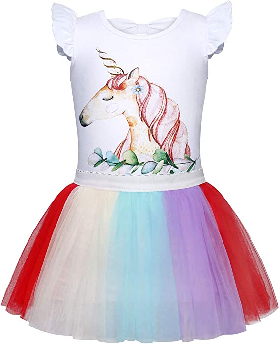 a9270ee385 Jurebecia Unicorn Dress Ruffle Sleeve Tutu Skirt Girls Party Birthday Kids  Outfit Multicolor Size 3T 1