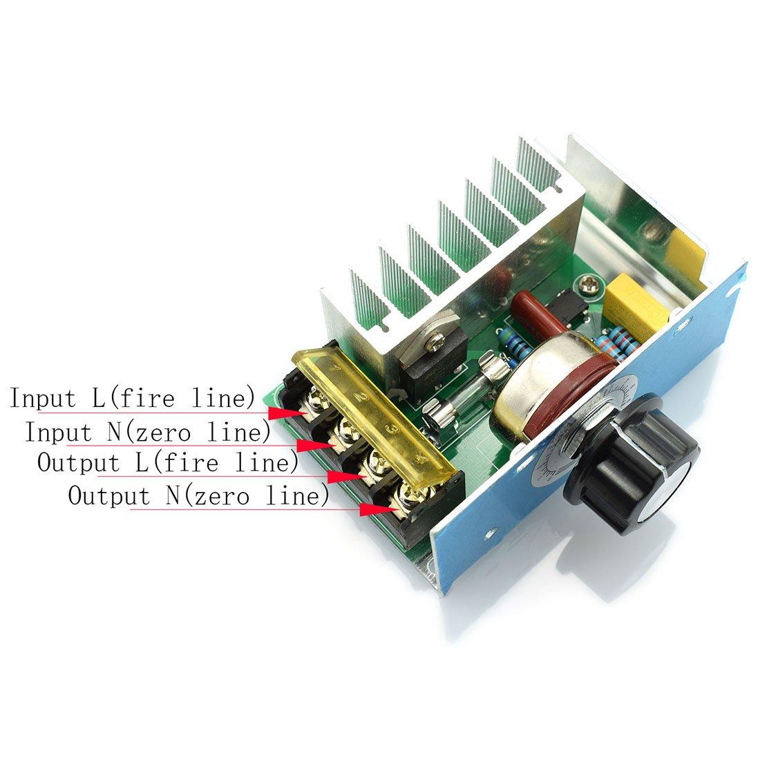 HJ Garden AC 220V 4000W Voltage Regulator Large Power Silicon Controlled SCR 10V-220V Adjustable Voltage Regulator Module Speed Controller Light Modulator Temperature Regulator Power Monitor .