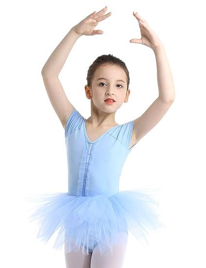 IEFIEL Maillot Tutú Ballet Niña Leotardo con Falda Manga ...