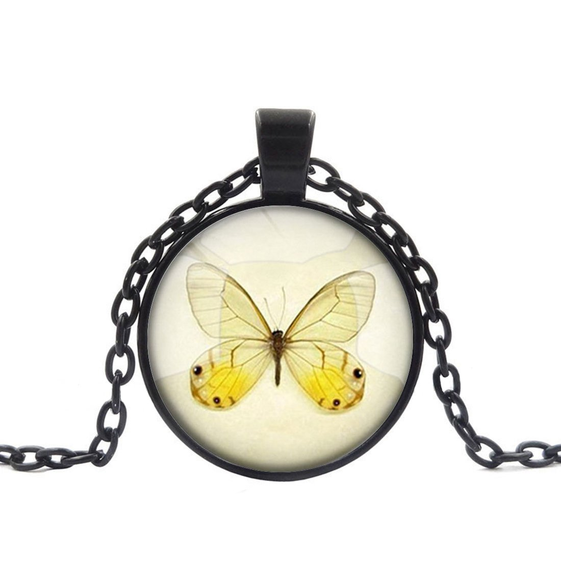 Adjustable Black Chain Necklace Yellow Butterfly Alloy Pendant Glass Necklace Choker Plating Chain Glass Cabochon
