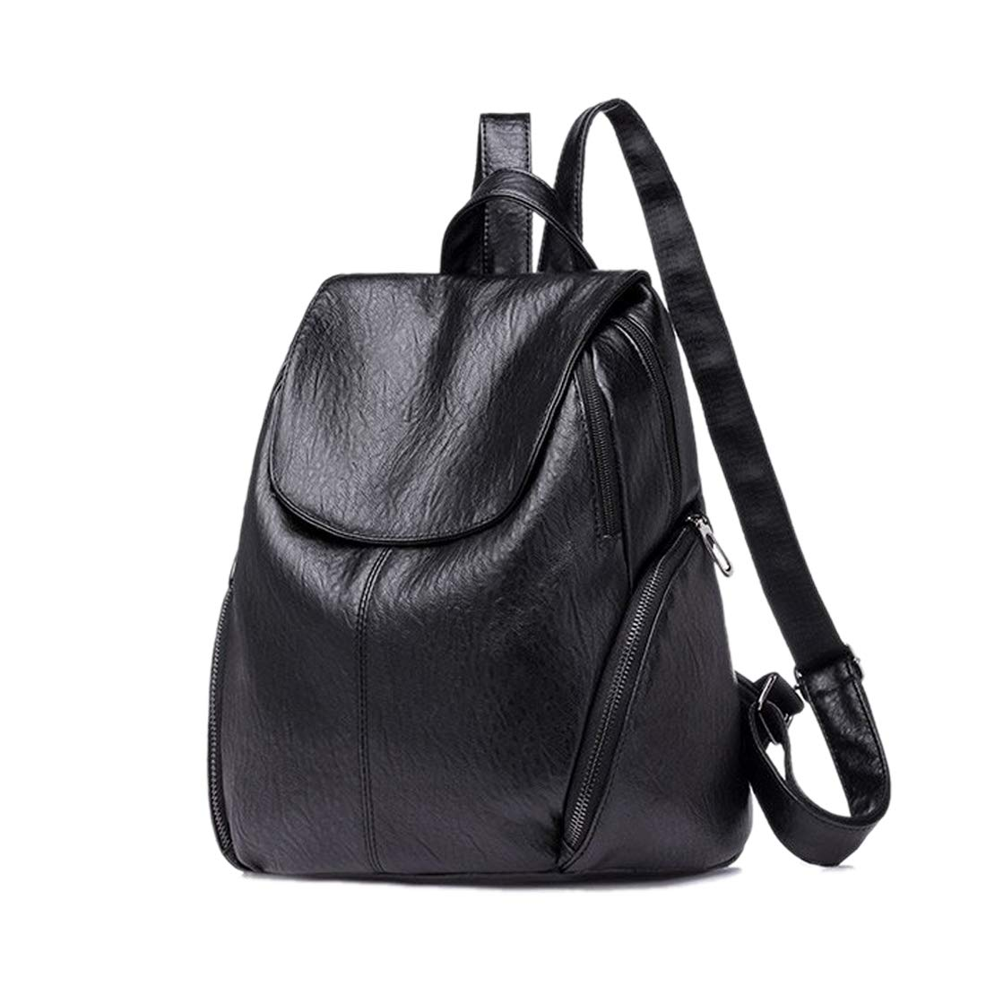 Artwell Women Backpack Purse PU Washed Leather Casual Ladies Rucksack Shoulder Bag with 2 Front Zipper Pocket (Black)