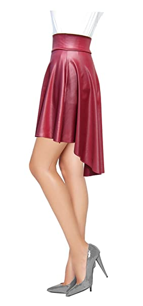 5866774b0ce Women Hi Lo Flare Skater Faux Leather Skirt-M-Burgundy at Amazon Women s  Clothing store