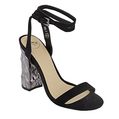 7ea2c9526b62b ESSEX GLAM Women's Synthetic Ankle Strap Chrome Heel Barely There Sandals