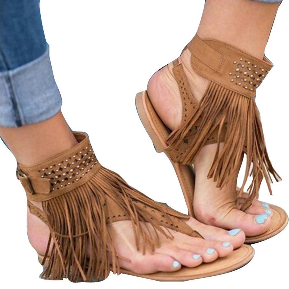 Meedot Sandalen Damen Flach Schuhe Zehentrenner Sandalen Frauen Abendschuhe Sandaletten Flip Flop Sommerschuhe Strandschuhe 35-44  35 EU|Braun