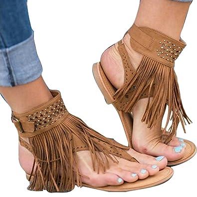 Meedot Sandalen Damen Flach Schuhe Zehentrenner Sandalen Frauen Abendschuhe Sandaletten Flip Flop Sommerschuhe Strandschuhe Beige 43 k67BlmOA