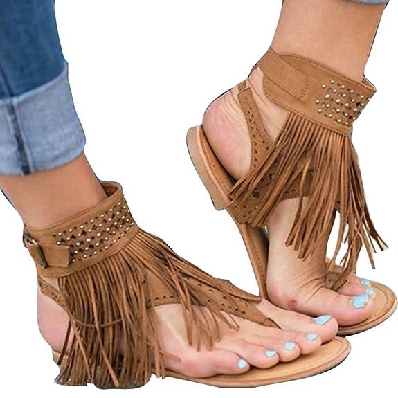 d6920038d7f3a4 Kootk Sandalen Damen Sommer Flach Schuhe Tassel Sandalen Strand Abend  Freizeti Outdoor Schuhe Flip Flops Sandaletten - zahnfee-yvonne-karakus.de