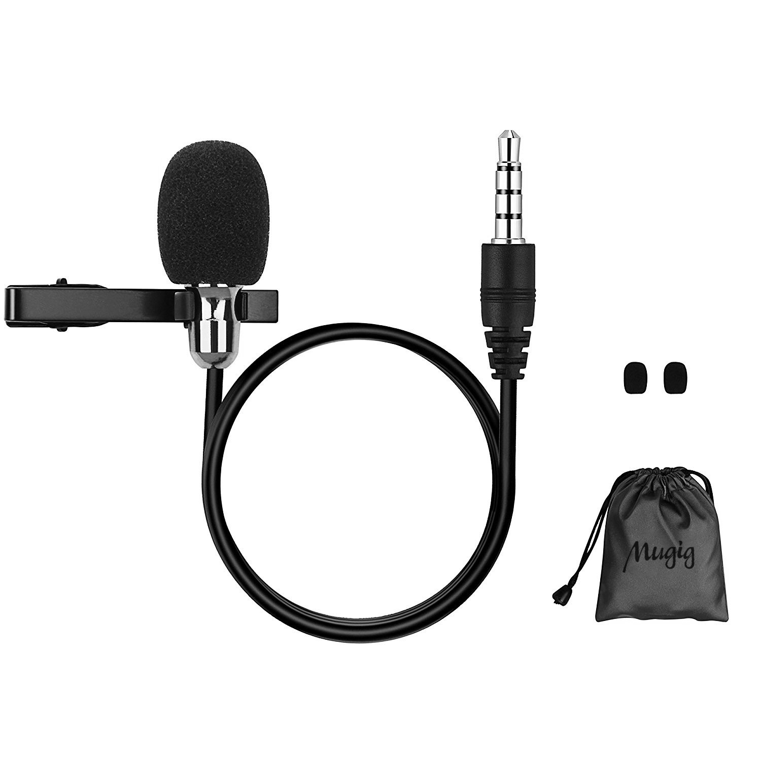 Mugig Lavalier Microphone  Mini Clip On Style Omnidirectional Lapel Condenser Mic for Smartphone and Other Mobile Devices