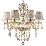 Crystal Lamp Luxury Lighting Fixture Pendant 6 Lights Ceiling Chain Lamp Chandelier (6 Bulbs) (Gold)