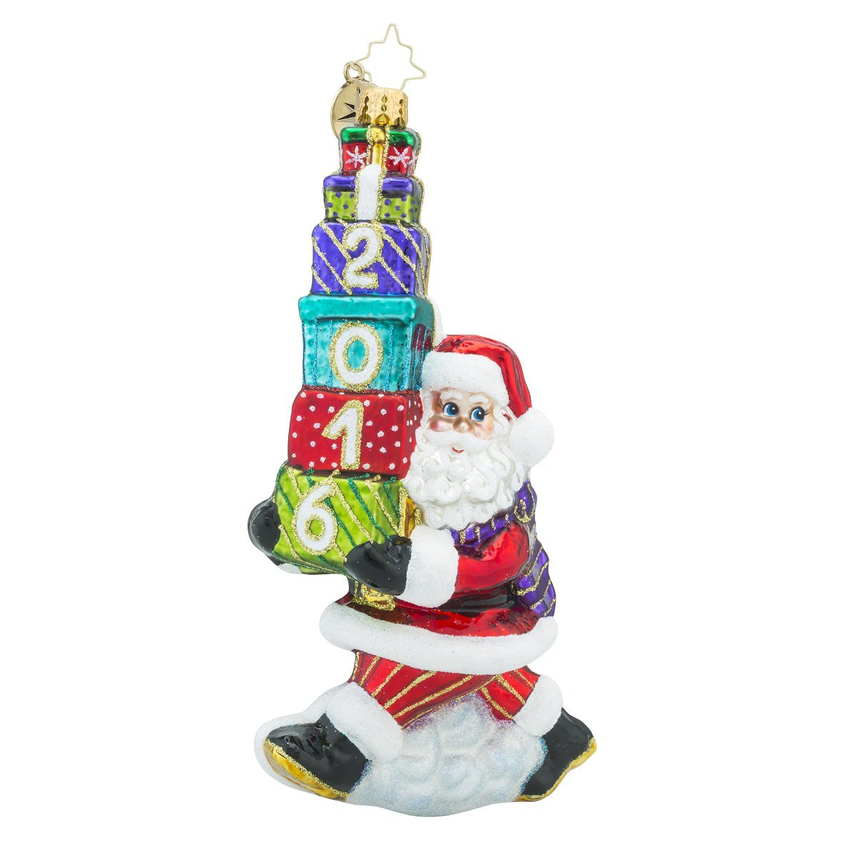 Christopher Radko 2016 Balancing the Date Santa Glass Christmas Ornament - 7.25''h. by Christopher Radko