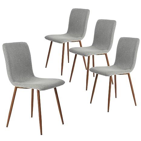 Coavas Sedie da Pranzo Set di 4 sedie da Cucina in Tessuto con ...