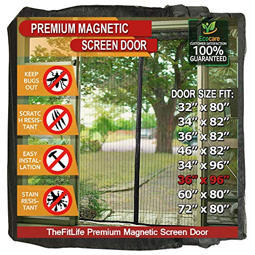 36' Smooth Faced Wood - TheFitLife Magnetic Screen Door - Heavy Duty Mesh Curtain with Full Frame Hook and Loop Powerful Magnets That Snap Shut Automatically - 38''x97'' - Fits Doors up to 36''x96'' Max