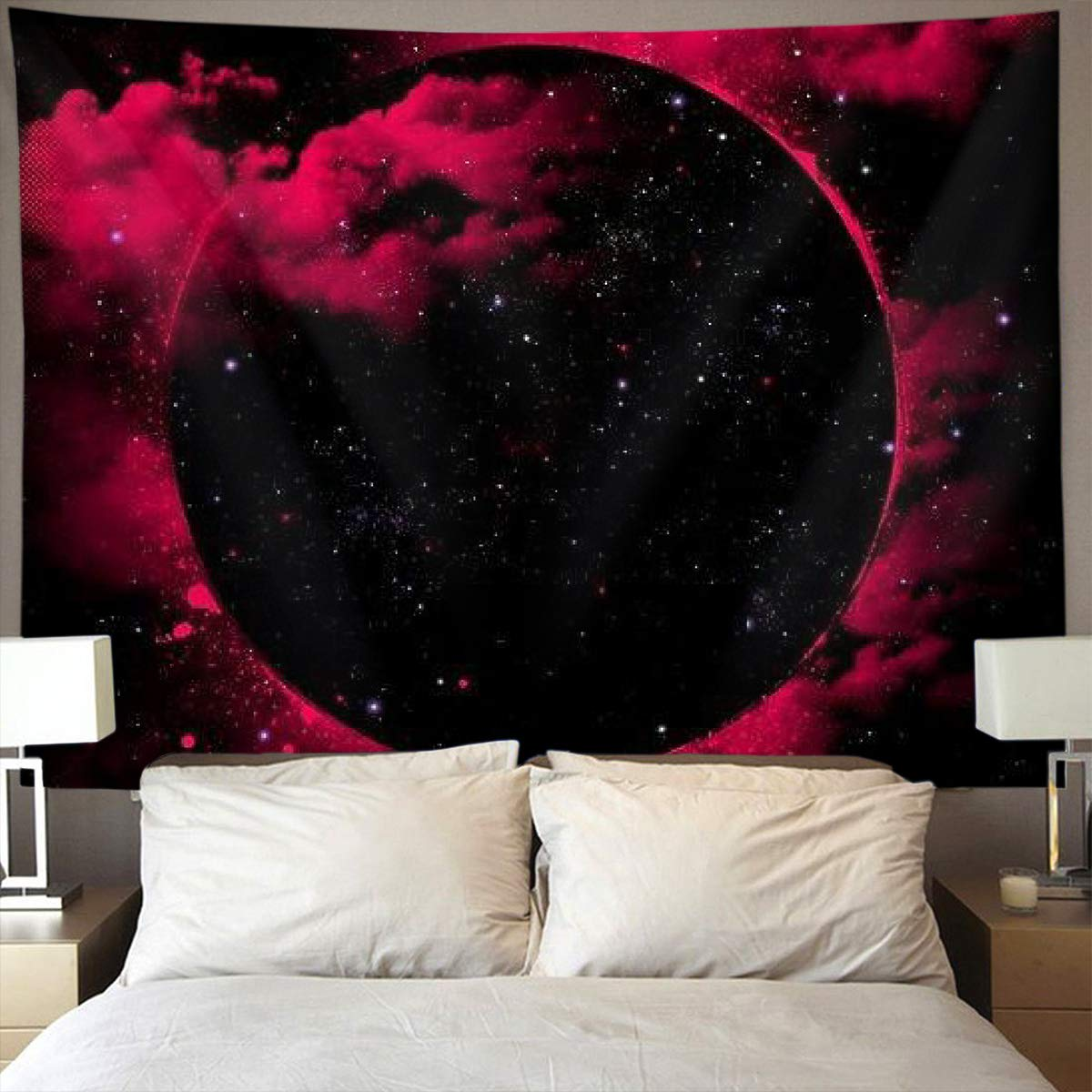. Amazon com  Trippy Red Galaxy Wall Tapestry Hippie Art Tapestry Wall