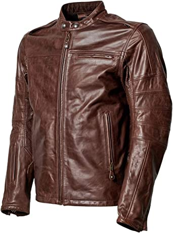 Leather Hub Mens Brown Motto Motorcycle Biker Leather Jacket Street Style