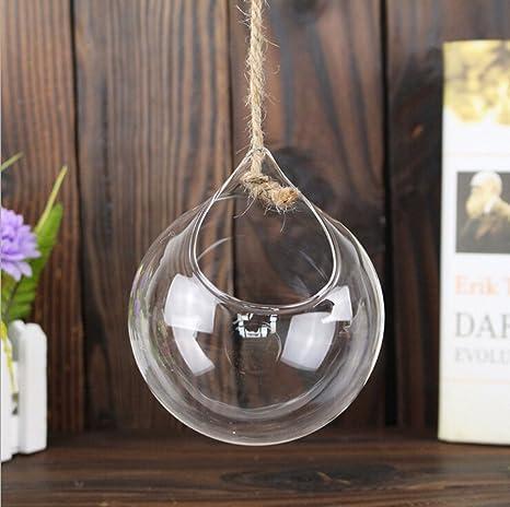 3x Demarkt Florero De Vidrio Transparente Colgante Manualidades - Vidrio-decoracion