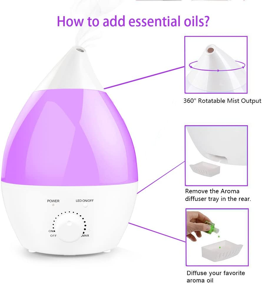 Crane Cool Mist Humidifier, Filter Free, Top Fill, 1.2 Gallon with Optional Color Changing Light & Aroma Diffuser Function. Works with Essential Oils