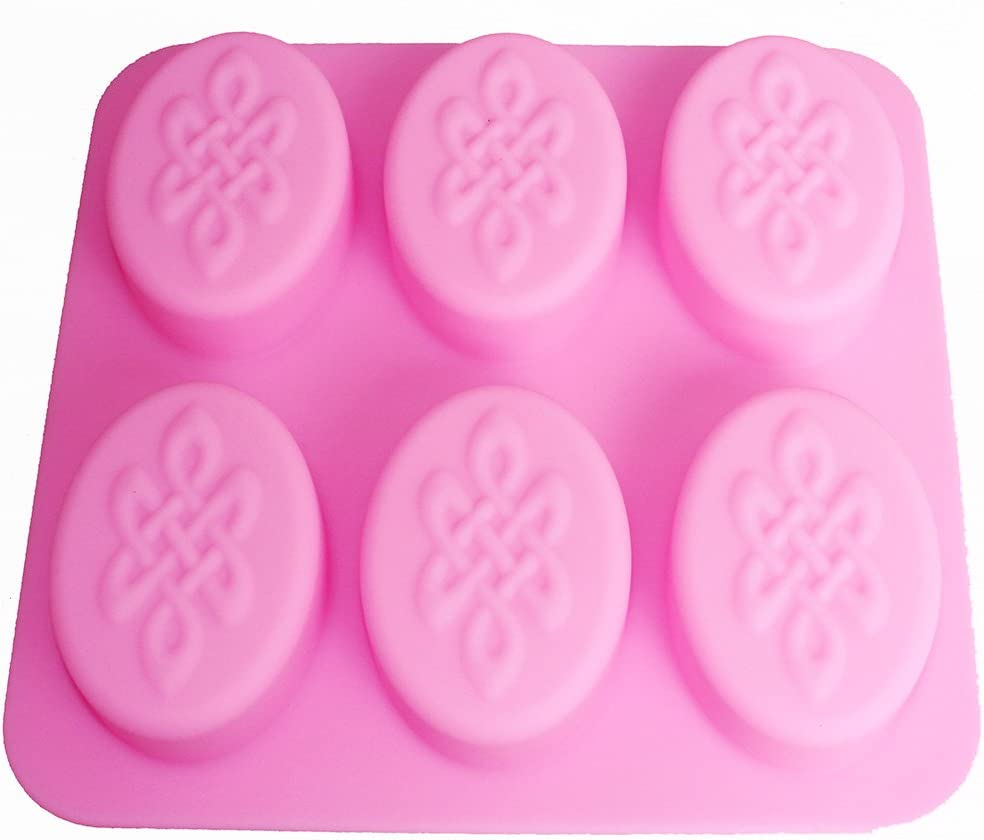 X-Haibei Celtic Knot Design Rectangle Silicone Glossy Soap Mold Heavy Bar 6-Cavity Cold Process