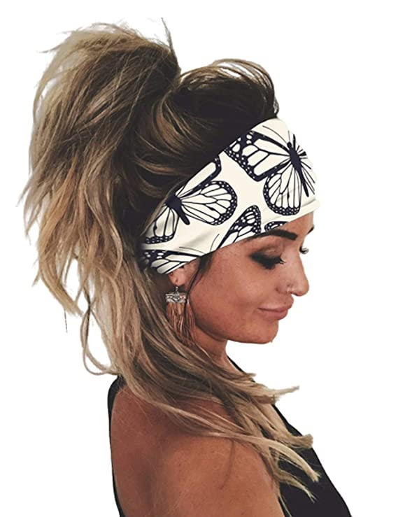 Emog Halloween 2020 Amazon.: CHICME Womne Headbands Butterfly Print Yoga Running