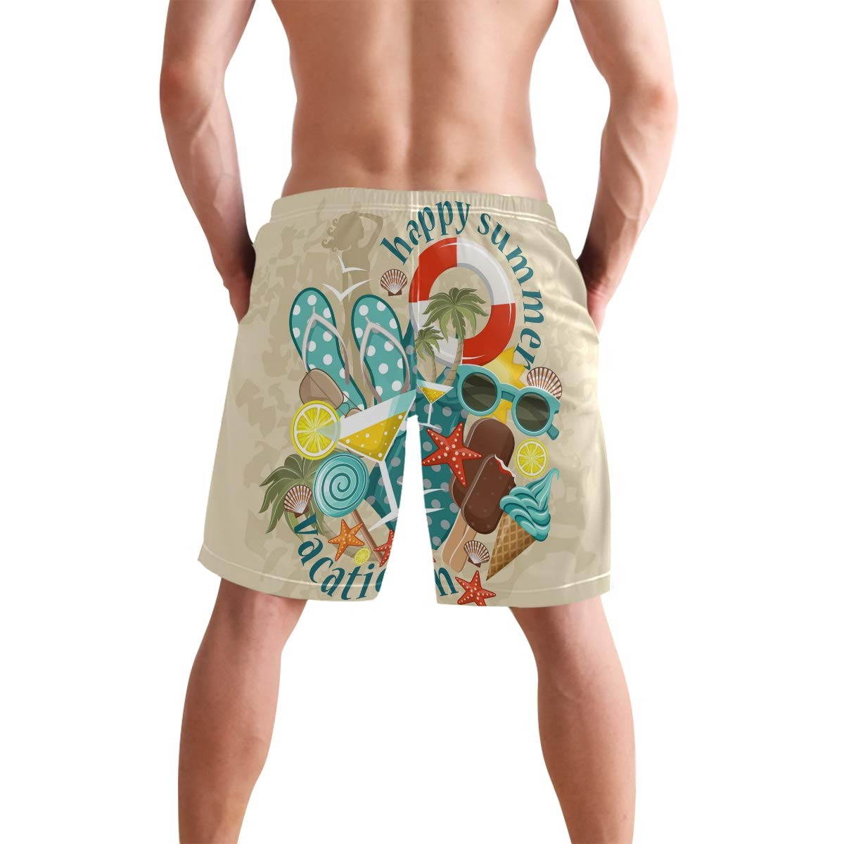 JERECY Mens Swim Trunks Happy Summer Holiday Beach Starfish Quick Dry Board Shorts with Drawstring and Pockets