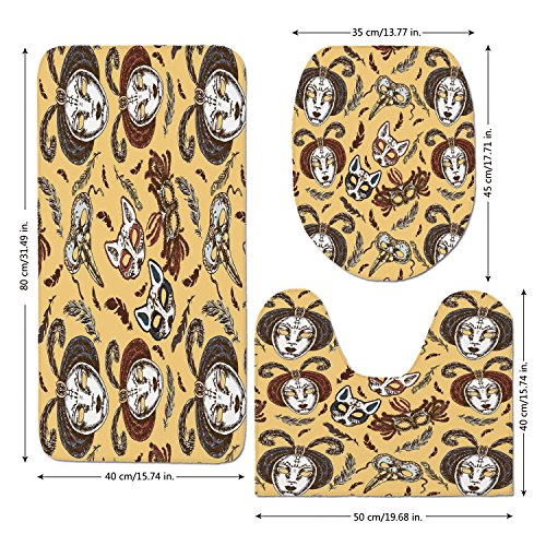 3 Piece Bathroom Mat Set,Masquerade,Venetian Style Paper Mache Face Mask With Feathers Dance Event Theme,Mustard Brown White,Bath Mat,Bathroom Carpet Rug,Non-Slip by iPrint