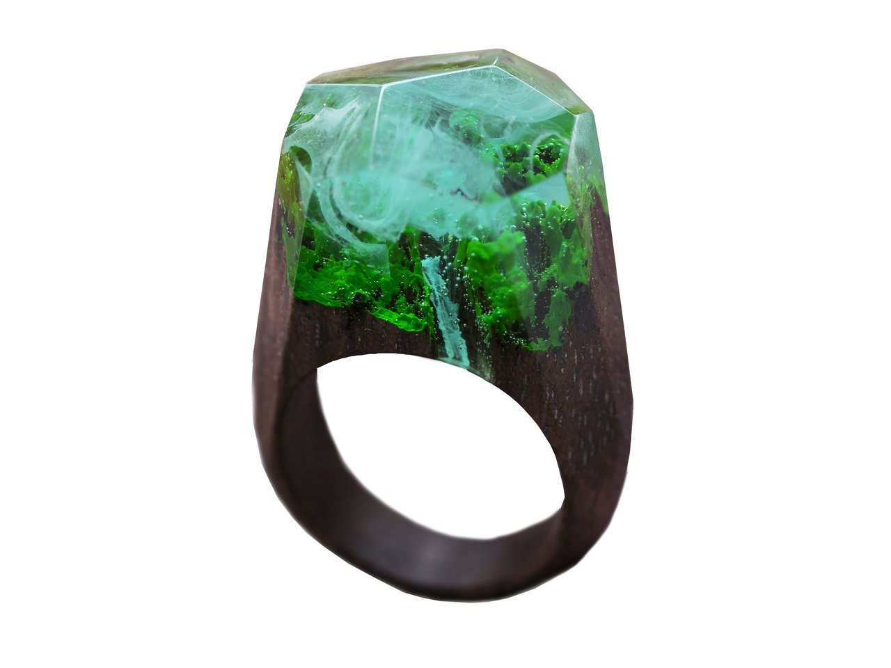 Green Wood Waterfall wood resin ring jewelry Handmade designer wood resign rings for women with landscape (9.5)
